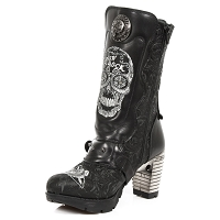 Black Leather Ladies Day of the Dead Boots w 3