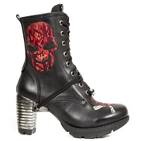 Black Leather Red Skull Ladies Boots