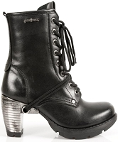 New Rock M.236-S1 Ladies Black Leather Metal Heel Platform Knee Lace Boots
