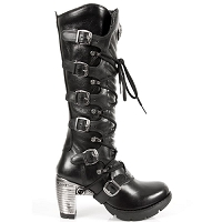 Knee high black leather goth boots w 3
