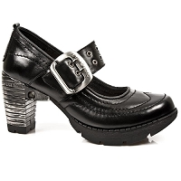 Goth Black Leather Slip on Shoes w Cute Buckle
