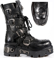 Black Vegan Goth Boots w Black Skull in Flames  *May take up to 45 - 50 Days to Receive*