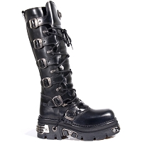 Tall Black Vegan Rocker Boots w Metal on Sole *May take up to 45 - 50 Days to Receive*