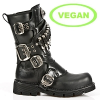 Black Vegan Combat Boots w Silver Bullets *May take up to 45 - 50 Days to Receive*