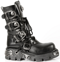 Black Vegan Goth Boots w Flaming Skull Buckles  *May take up to 45 - 50 Days to Receive*