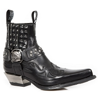 Arctic Black Flames Italian Western Leather
