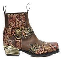 Mexican Black & Gold Leather Floral Westerns