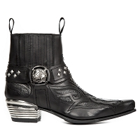 Black Leather Flames Western Italian Boots