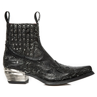 Black Python Leather Westerns w Floral Flames