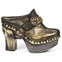 Gold Leather Platform Clog w Gold Chain