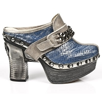 Steel Pleated Azure Leather Platform Clog w Chain