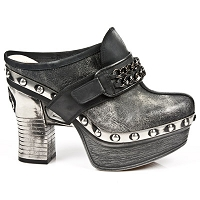 Black Stone Leather Platform Clog w Black Chain