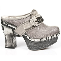 Earth Nature Taupe Python Pleated Platform Clog w Chain