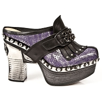 Violet Python Pleated Platform Clog w Black Leather
