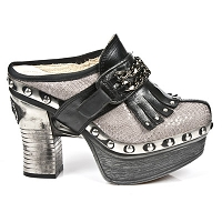Silver Taupe Python Pleated Platform Clog w Leather n Chain