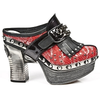 Red Leather Python Pleated Platform Clog w Leather & Chain