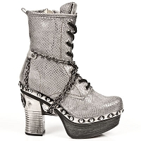 Silver Taupe Python Pleated Leather Platform Clog w Chains & Inner leg zip