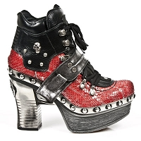Red Python Pleated Leather Platform Clog w skull detail