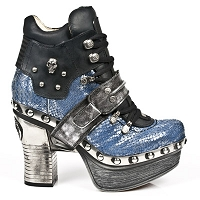 Blue Python Pleated Leather Platform Clog w skull detail