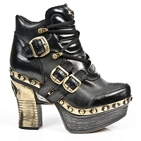 2 Tone Black Leather Platform Clog w Gold Buckles