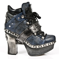 Black & Blue Leather Platform Clog w Silver Leather