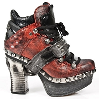 Black & Red Leather Platform Clog w Silver Leather
