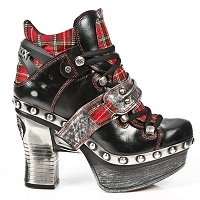 Black Leather & Red Plaid Platform Clog w Silver Leather