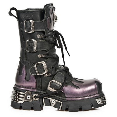 Quality Black Leather New Rock Boots w Metallic Purple Flames on the Front, Back and top.  4 Buckles to adjust for comfort and fit. Zip on inner leg.