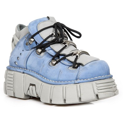 Baby Blue & White Leather, White Sole New Rock Ankle Boots w 3 Metal Lace Guides up the front.