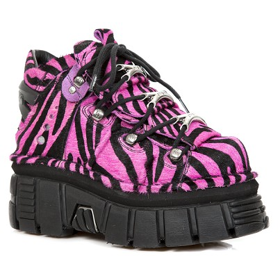 Black & Pink Zebra Hair Leather New Rock Ankle Boots w 3 Metal Lace Guides up the front.