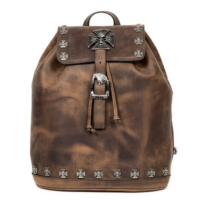 Quality Brown Leather New Rock Back Pack w Iron Crosses and Skulls. Convenient adjustable shoulder straps.