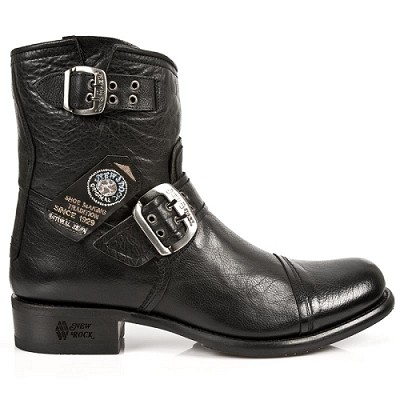 Quality Black Buffalo Hide Leather New Rock Motorcycle Boots.  Great for riding in style!  Undo the top Buckle, Slip them right on, Buckle to comforting fit and your ready to ride!