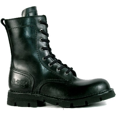 Heavy Duty Black Leather Combat Boots made to last from New Rock Boots. Lacing up the front.