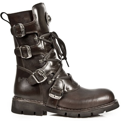 Dark Brown Leather Combat Boots, 4 Buckles on the outside of the leg to adjust for comfort and a zipper on the inner leg making these boots very easy to put on, take off and adjust.