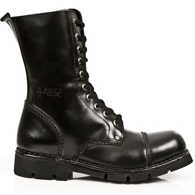 Shiny Black Leather Military Boot Up to Mens 16