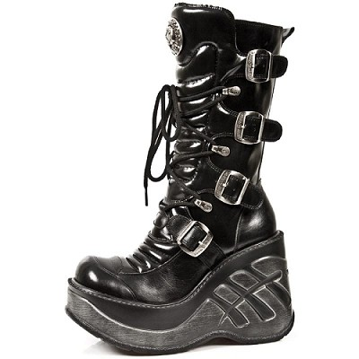 "Sexy Shiny Leather Goth Boots. 4 Buckles to adjust for comfort and fit, Zip on inner leg. 4"" Platform Heel."
