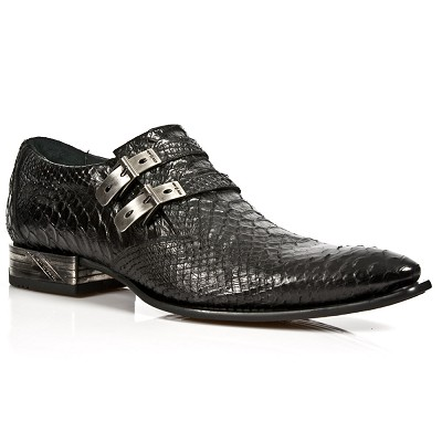 Black Leather Dress Shoes From New Rock Boots w Python Pattern and 2 Buckles to adjust for comfort and fit!