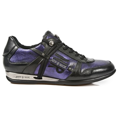 Black & Electric Purple Leather Hybrid Shoes *May take up to 45 - 50 Days to Receive*