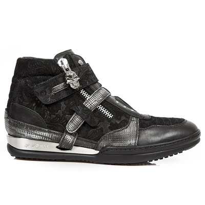 Black Leather w Black Paisley Pattern Shoes w Grey Trim. Easy comfortable zip and velcro fastener. Metal on the heels.