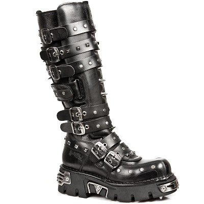 "Black Leather boots w studs and spikes, Awesome for any concert, stage show, party or high school reunion. 7 adjustable buckles for comfort and fit. Zip on the inner leg, Adjustable velcro straps for better fit and comfort, 2.5"" Thick Rubber  Sole w Metal."