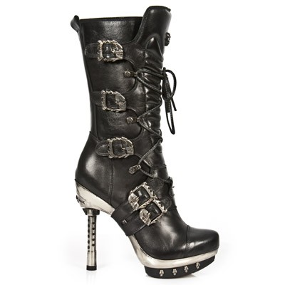Black Leather High Heels w Skulls  *May take up to 35 - 45 Days to Receive*