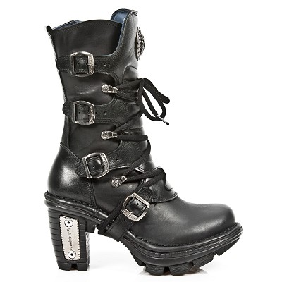 "High quality all black leather ladies boots w Lacing up the front. 4 Buckles to adjust for comfort and fit. 3"" Silver Heel."