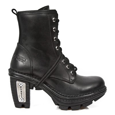 High quality black leather combat high heel ankle booties w lacing up the front.   Heel Height 3""