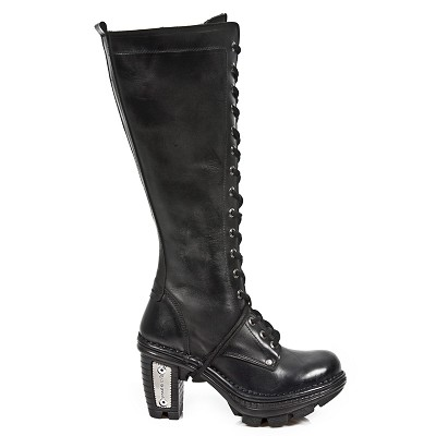 High quality black leather combat high heel knee boots w lacing up the front. Heel Height 3""