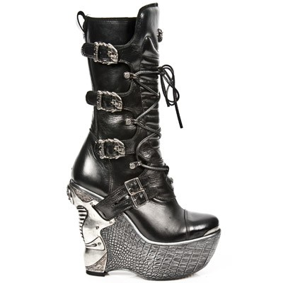 Leather Platform Wedge Heel Boots