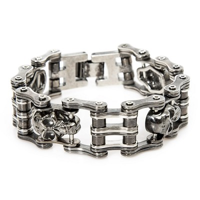 Black Leather Motorcycle Engine Chain Bracelet w clasp.  Great for any bike show or party!