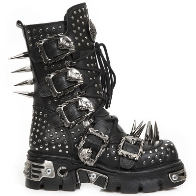 Black Leather Boots w Flaming Skulls, Chains & Spikes. Zip on the inner leg. 4 Buckles to adjust for comfort and fit.
