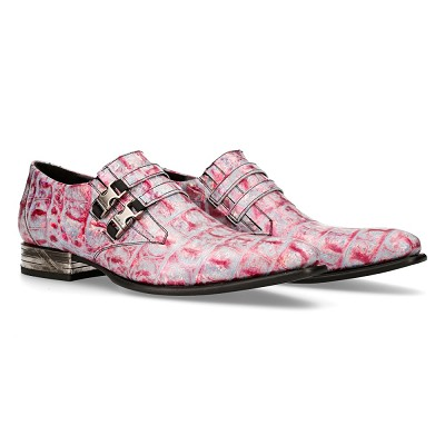 High Quality Pink Sky Pattern VIP Leather Shoes w 2 over the top buckles.