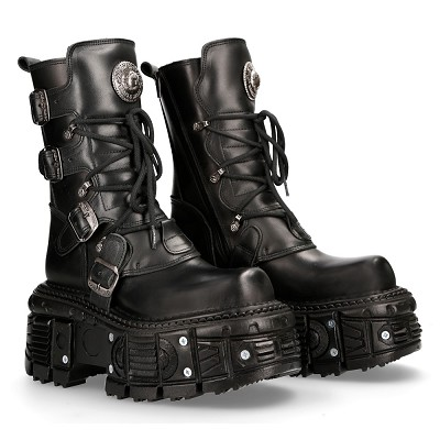 High Quality Black Leather New Rock Boots. Zip on the inner leg. 4 Buckles to adjust for comfort and fit.