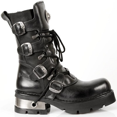 Classic New Rock Black Leather Boots